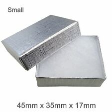 Silver Cardboard Jewellery Gift Box Cotton Cushion Strong Jewelry Box - SMALL