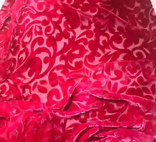 "Hand Dyed Burnout Silk VELVET Fabric FUCHSIA PINK SCROLL 9""x22"" remnant"