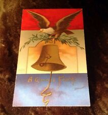 Vintage Postcard A Glorious Fourth Eagle With Bell Printed In Germany