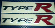 Honda Civic Type R FN2 Side Skirt stickers Silver background Black + Red Carbon