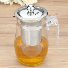 750mL Heat Resistant Clear Glass Teapot Stainless Steel Infuser Flower Tea Pot