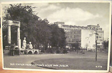 Irish Postcard BUS STATION 1930s Custom House Park DUBLIN Ireland Valentine Eire