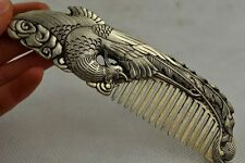 Collectibles Decorated Old Handwork Miao Silver Carving Phoenix Rare Lucky Comb