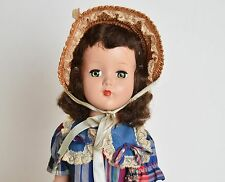 Vintage 50s Arranbee R&B Nanette Brunette Doll Dress Straw Hat 17""