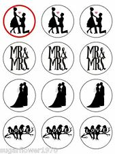 Engagement Romantic Wedding Silhouette Edible Cupcake Toppers