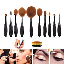 10tlg Foundation Oval Pinsel Puderpinsel Kosmetik Brush Make Up Zahnbürste Set