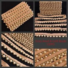9 Meters Ivory Pearl White Bead Trim Saree Border Sew on Crafting Lace Ribbon