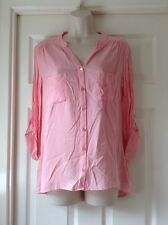 Atmosphere Pink V Neck Shirt, With Roll Sleeves, Button Front, Size 8