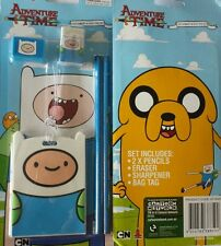 New 5 pcs Licensed Adventure Time - Finn Stationery and school Bag Tag Set