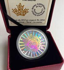 2014 Canada $20 .999 1 Oz Silver Coin Interconnection Land - Beaver Hologram