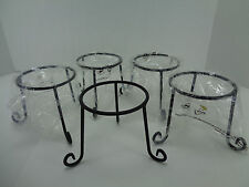 Lot of 5 Wrought Iron Wire Caddy Garden Server Votive Candle Holder Black 96811