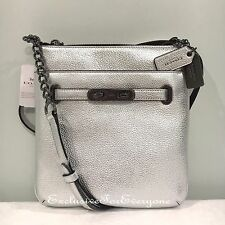 NWT Coach Silver Leather  Swingpack Swagger Crossbody Bag $195