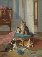 PAINTING ANIMAL PORTRAIT CAT FAMILY HOME HUBER ART PRINT POSTER LAH427A