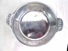 "Alloy Metal Vintage Silver-tone Tarnish Resistant Serving Dish w/ Handles 7""dia"