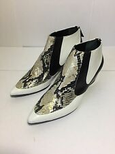 =CHIC= RODARTE White SnakeSkin Rocker Resin Silver Chrome Heel Ankle Boots US8.5