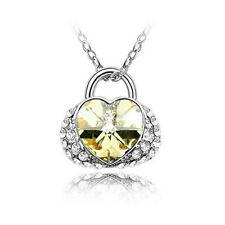 Halskette Herz Herzanhänger Style Anhänger Strass Damen Kette necklace gold