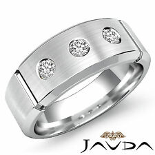 8mm Mens Half Wedding Band 3Stone Round Bezel Diamond Ring 14k White Gold 0.30Ct