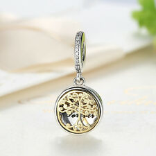 DIY European 925 Sterling Silver 14K Gold Family Roots Clear CZ Charm Pendant