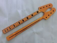 Electric Bass Guitar Neck yellow Replacement Maple Wood 20 Fret Repair parts