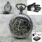 Silver Antique Men Quartz Pocket Watch Horse design with Fob Chain Gift Box P158