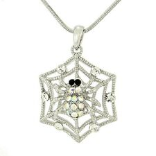 Spider W Swarovski Crystal Web Cobweb Charm Gift Friends Pendant Necklace