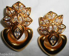 ESCADA Vintage Statement Big Earrings Gold Swarovski Crystal Hearts HapaChico