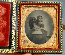 Antique VICTORIAN GIRL & DOLL Tintype Photo in FANCY LEATHER BOOK & VELVET CASE