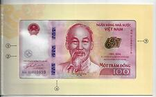 VIETNAM 100 DONG 2016 COMMEMORATIVE IN FOLDER 65 YEAR NATIONAL BANK UNC P NEW