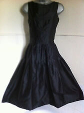 SINTESISpure silk classic black sleeveless dress full skirt 50's style12EXCDN