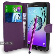 Purple Wallet Case PU Leather Book Cover For Samsung Galaxy A5 2016 A510 Mobile