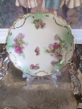Limoges France Porcelain Cabinet Floral Plate Burnished Gold Trim