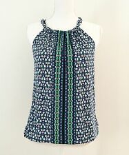 NWT $70 Max Studio Halter Top Blouse SizeXS White Blue Floral Bubble Hem Elastic