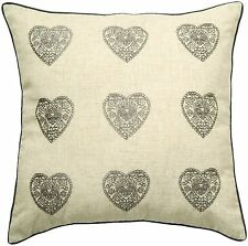 Catherine Lansfield Vintage hearts silver cushion cover