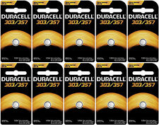 10 Duracell 357 303 - SR44SW Silver Oxide Button Cell Batteries