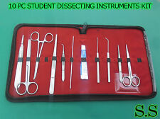 10 PC STUDENT DISSECTING DISSECTION MEDICAL LAB INSTRUMENTS KIT SET+5 BLADES #24