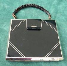 ancien coffret en forme de sac métal laqué noir poudrier, maquillage, miroir ...