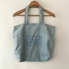 VTG 80s 90s Keds Shoe Co Thin Denim Tote Bag Retro Shopper Skate