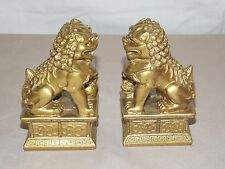 NEW PAIR (2) CHINESE GOLD FOO DOGS IMPERIAL LIONS FUNG SHUI STATUE FIGURE 4""