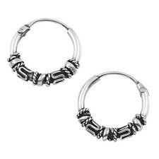 New Sterling Silver 12mm Tribal Twist Bali Hoop Earrings EP243