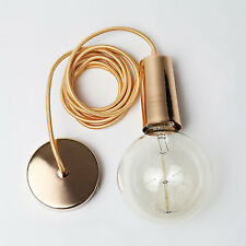 Modern Rose Gold Single Bulb Textile Cord Pendant Light Free Vintage Edison Bulb