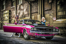 """1970 Challenger T/A Muscle Car Poster Art Print With Go Go Girls """"Freeze"""""""
