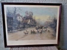 Antique Colored Print Elmer Keene Signed 1350 At the Close of Summer's Day 1900s