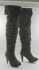 """BROWN 4""""Stiletto high heel  round toe long sexy over the knee  boot  .Size  10"""