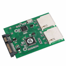 2 Port Dual SD SDHC MMC RAID to SATA Adapter Converter Support All SD Card New