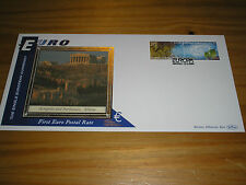 """2001 BENHAM """"Euro"""" Postal Rate First GREECE Stamp FDC Cover ATHENS Postmark"""