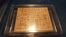 Stampin Up 2005 Crosshatch Retired Large Background Wood Mount Rubber Stamp