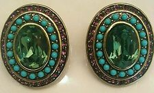 NEW IN BOX HEIDI DAUS ARTISTRY OVAL TURQUOISE & CRYSTAL CLIP EARRINGS - CLASSIC!