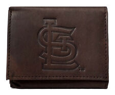 St Louis Cardinals MLB Embossed Logo Dark Brown Leather Trifold Wallet