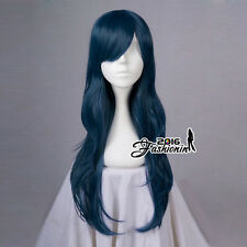 70CM Dark Blue Long Wavy Party Women Basic Synthetic Hair Cosplay Wig+Wig Cap