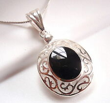 Black Onyx Filigree Pendant 925 Sterling Silver Corona Sun Jewelry